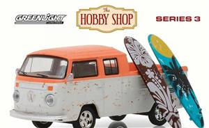 Volkswagen Type 2 Crew Cab Pickup Doka w/ Surfboards, White w/ Orange